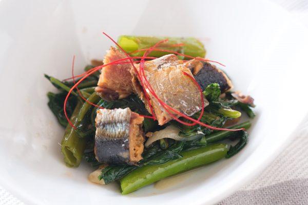 空芯菜とさんまの煮付の炒め物